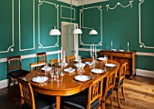 MORTON HALL,WORCS:DINING ROOM WITH KEIM OPTIL MINERAL PAINT.ORIGINAL DRAWING ROOM OF 18TH CENTURY HOUSE.ORIGINAL MOULDINGS,EXTENDABLE ELM WOOD TABLE CA.1825.WALNUT CUTLERY CHEST