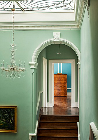 MORTON_HALL_WORCESTERSHIREMINT_GREEN_PAINTED_STAIRWELL_WITH_ART_NOUVEAU_SKYLIGHT__CHANDELIER_IN_BOHE