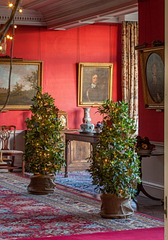 BURTON_AGNES_HALL_EAST_YORKSHIRE_CHRISTMAS__THE_DINING_ROOM_WITH_BAY_TREES_LAURUS_NOBILIS_PORTRAIT_O