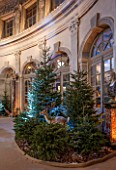VAUX LE VICOMTE, FRANCE: THE GRAND SALON. OVAL DOMED ROOM DECORATED FOR CHRISTMAS WITH A MAGICAL FOREST OF NEARLY 100 TREES, STUFFED HARES, WILDBOAR, FOXES AND DEER