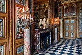 VAUX LE VICOMTE, FRANCE: THE DINING ROOM DECORATED FOR CHRISTMAS. THE MARBLE FIREPLACE, MIRROR, BUST OF LE BRUN, PAINTER TO THE KING