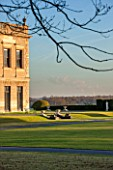 BRODSWORTH HALL, YORKSHIRE: DAWN. WINTER, JANUARY, VIEW ACROSS LAWN TO THE HALL