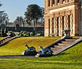 BRODSWORTH HALL, YORKSHIRE: DAWN. WINTER, JANUARY, VIEW ACROSS LAWN TO STEPS AND STATUES WITH HALL BEHIND. URNS, STONE, ORNAMENT