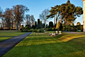 BRODSWORTH HALL, YORKSHIRE: VIEW ACROSS LAWN TO BORDER OF TOPIARY. VICTORIAN, COUNTRY, GARDEN, FORMAL