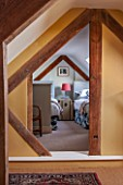 THE FREETH, HEREFORDSHIRE: VIEW THROUGH TO ATTIC TWIN ROOM - BEDS, LAMP, FABRIC CHEST, BEDROOM