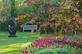 PASHLEY MANOR GARDEN, EAST SUSSEX. SPRING, BORDER, TULIPS - TULIPA ILE DE FRANCE. BULBS, COUNTRY, ORANGE, RED, FLOWERS, FAMILY CIRCLE SCULPTURE BY JOHN BROWN, WOODEN, BENCH