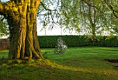 MITTON MANOR, STAFFORDSHIRE: BUBBLE SWING SEAT BY MYBURGH DESIGNS BENEATH BEECH TREE. SWING SEAT, FORMAL, LAWN, APRIL