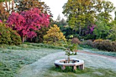 HOLE PARK, KENT: WOODEN TREE SEAT, LAWN, MALUS PROFUSION. WOODS, PATH, PATHWAYS, COUNTRY, GARDENS, ENGLISH, MAY, SPRING, PINK, BLOSSOM
