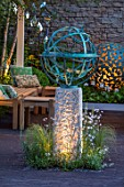 DAVID HARBER SUNDIALS:CHELSEA 2017.BRONZE ARMILLERY SPHERE AND MANTLE SCULPTURE IN SEATING AREA.RELAX,CONTEMPORARY,MODERN,NIGHT,EVENING,LIGHTING,RELAX,ART,CRAFT