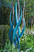 DAVID HARBER SUNDIALS: CHELSEA 2017. HYDRA - BRONZE TREE SCULPTURE AMONGST WHITE PLANTING OF FOXGLOVES AND BIRCH TREES. DESIGN,CRAFT,ART,FEATURE,HANDMADE