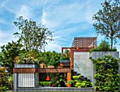 CHELSEA FLOWER SHOW 2017: CITY LIVING GARDEN DESIGNED BY KATE GOULD. CONTEMPORARY, SMALL, FORMAL, URBAN, ROOF, GREEN, LIVING, WALL, MODERN, TOWN, FOLIAGE, LEVELS