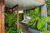 CHELSEA FLOWER SHOW 2017: CITY LIVING GARDEN DESIGNED BY KATE GOULD. MODERN, CONTEMPORARY, FORMAL, SEAT, SEATING, SCREEN, DECK, DECKING, CUSHIONS, FOLIAGE, TREE FERN