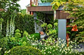 CHELSEA FLOWER SHOW 2017: CITY LIVING GARDEN DESIGNED BY KATE GOULD. MODERN, CONTEMPORARY, FOLIAGE, LIVING, WALL, GREEN, LAMP, ANGLEPOISE, BASEMENT, SCULPTURE, FOXGLOVES, SHADE