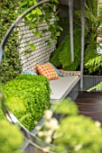 CHELSEA FLOWER SHOW 2017: CITY LIVING GARDEN DESIGNED BY KATE GOULD. MODERN, CONTEMPORARY, FOLIAGE, LIVING, WALL, GREEN, BASEMENT, CUSHIONS, SEAT, SEATING, BOX, DECK, DECKING