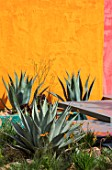 CHELSEA FLOWER SHOW 2017: BENEATH A MEXICAN SKY DESIGNED BY MANOJ MALDE. LUIS BARRAGAN, YELLOW,  PINK, WALL, MEXICO, MODERN, MEDITERRANEAN, AGAVE, EXOTIC, WATER, POOL, DECKING