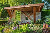 CHELSEA FLOWER SHOW 2017: THE MORGAN STANLEY GARDEN DESIGNED BY CHRIS BEARDSHAW - COUNTRY, COTTAGE, STYLE, PLANTING, LUPINS, FENNEL, PERGOLA, STONE, WALL