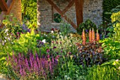 CHELSEA FLOWER SHOW 2017: THE MORGAN STANLEY GARDEN DESIGNED BY CHRIS BEARDSHAW - COUNTRY, COTTAGE, STYLE, PLANTING, LUPINS, FENNEL, PERGOLA, STONE, WALL, SALVIA