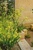 CHELSEA FLOWER SHOW 2017: THE M & G GARDEN DESIGNED BY JAMES BASSON. ROCK, STONE, QUARRY, MALTA, LIMESTONE BLOCKS, MEDITERRANEAN, FENNEL