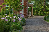 MORTON HALL, WORCESTERSHIRE: GRAVEL PATH, SOUTH GARDEN, CLIPPED YOPIARY BOX, LAWN, IRISES. SUMMER, SPRING, HERBACEOUS, BORDERS