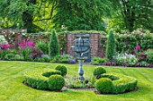 COTTAGE ROW, DORSET: LAWN, SUNDIAL, BOX HEDGE, BRICK PATH, BORDER, SPRING, GLADIOLUS COMMUNIS SUBSP. BYZANTINUS, WALL, BUXUS, ORNAMENT, CLASSIC, COUNTRY, GARDEN