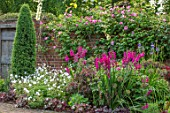 COTTAGE ROW, DORSET: BRICK PATH AND BORDER, SPRING, ALLIUMS, GLADIOLUS COMMUNIS SUBSP. BYZANTINUS, WALL, MORNING, GATE
