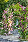 MOTTISFONT ABBEY, HAMPSHIRE: ARCH WITH ROSES - ROSA DEBUTANTE AND ROSA BLEU MAGENTA, SUMMER, ROSE, GARDEN, ARCHES, FORMAL, SUMMER, PINK, FLOWERS, FLOWERING, BLOOMS, BLOOMING