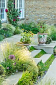 THE OLD RECTORY, QUINTON, NORTHAMPTONSHIRE: DESIGNER ANOUSHKA FEILER: SUNKEN PATIO, STIPA LESSINGIANA, STEPS WITH MIND YOUR OWN BUSINESS, TERRACOTTA CONTAINERS, ROSA DARCEY BUSSELL