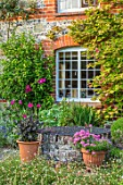 COTTAGE ROW, DORSET: HOUSE, ACTINIDIA KOLOMIKTA, WELL, TERRACOTTA CONTAINERS WITH DAHLIAS, ERIGERON KARVINSKIANUS. COUNTRY, GARDEN, JUNE, SUMMER, WINDOW, BRICK