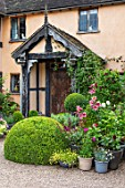 WOLLERTON OLD HALL, SHROPSHIRE: PINK PAINTED HOUSE, HALL FRONT, GRAVEL, DRIVE, CONTAINERS, LILIES, CLIPPED, TOPIARY, BOX, HALF, BARREL, FRONT DOOR, ENTRANCE. POTS, ARTS, &, CRAFTS