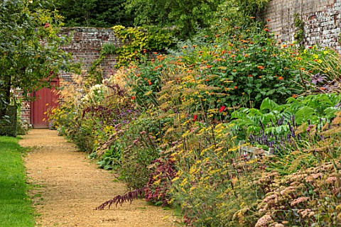 PARHAM_SUSSEX_PATH_RED_DOOR_HOT_BORDER__TITHONIA_TORCH_DAHLIA_BISHOP_OF_LLANDAFF_SEDUM_MATRONA_HELIA