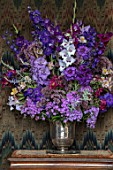 PARHAM, SUSSEX: WEST ROOM - SILVER CONTAINER WITH DELPHINIUM BRUCE, GLADIOLI VELVET EYES AND HOME COMING, ALSTROEMERIA, PHLOX