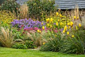 PETTIFERS, OXFORDSHIRE: BORDER WITH KNIPHOFIA SUNNINGDALE YELLOW, PURPLE, BLUE, ASTERS, SEDUM. PERENNIALS, LATE SUMMER, FALL, AUTUMN