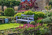 PETTIFERS, OXFORDSHIRE: LAWN, PURPLE, WOODEN, BENCH, SEAT, COTINUS, BORDERS, FALL, AUTUMN, LATE, SUMMER, PATH, ENGLISH, COUNTRY, GARDEN
