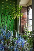 LEEDS CASTLE, KENT: BLUE, WHITE DELPHINIUMS AGAINST GREEN DOOR, FLORAL ARRANGEMENT, DESIGNER AMY CURTIS
