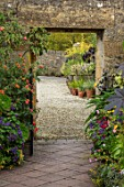 BOURTON HOUSE GARDEN, GLOUCESTERSHIRE: POTTED EXOTIC PLANTS IN CONTAINERS BESIDE WALL, PATH, LATE, SUMMER, AUTUMN, SEPTEMBER, DOORWAY, RICINUS, ABUTILON, HELIOTROPE, LANTANA