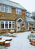 THE CONIFERS, OXFORDSHIRE: FRONT GARDEN IN SNOW. DESIGNER CLIVE NICHOLS. WINTER, DECEMBER, COLD, COURTYARD, HOUSE, FRONT, DOOR