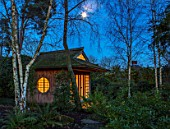 MORTON HALL, WORCESTERSHIRE: NIGHT TIME, LIGHTS, LIGHTING, EVENING, GARDEN, COUNTRY, HOUSE, TREES, JAPANESE TEA HOUSE, BIRCHES, MOON, FULL MOON