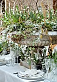 RHS LONDON EARLY SPRING PLANT SHOW, LINDLEY HALL: FEBRUARY. WINTER URN TABLE CENTREPIECE, SNOWDROP BANQUET BY FLORIST ZITA ELZE, GALANTHUS NIVALIS  AND GALANTHUS NIVALIS FLORE PLEN