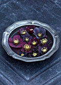 OLD COUNTRY FARM, WORCESTERSHIRE: CLOSE UP OF HELLEBORES - PLUM, DARK, BLACK HELLEBORUS X HYBRIDUS FLOATING IN WATER ON PEWTER PLATE. SLATE, PERENNIAL, STILL LIFE, DARK