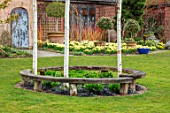 JOHN MASSEY GARDEN, ASHWOOD NURSERIES, WORCESTERSHIRE: CURVED WOODEN SEAT, BENCH, BETULA NIGRA HERITAGE, LAWN, BORDER WITH DAFFODILS - NARCISSUS TRENA, AGM, SPRING, MARCH