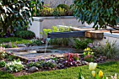 ASCOT SPRING GARDEN SHOW: WATER FEATURE BY PIP PROBERT - RILL, WATER FEATURE, RUSTIC OAK TABLE, COURTYARD, FOMAL, TOWN, SPOUT, STONE, WELL, GRASS, LAWN, CITY