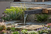 ASCOT SPRING GARDEN SHOW: WATER FEATURE BY PIP PROBERT - RILL, WATER FEATURE, RUSTIC OAK TABLE, COURTYARD, FOMAL, TOWN, SPOUT, STONE, WELL, GRASS, LAWN, CITY , FOUNTAIN
