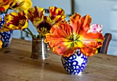 THE OLD PARSONAGE, DORSET: KITCHEN TABLE WITH TULIPS PICKED FROM THE GARDEN IN VASES. ORANGE, STRIPED, YELLOW, COLOURFUL, FLOWER, INTERIOR, HOME, ORNAMENTAL,DECORATIVE.