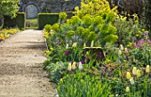 PARHAM HOUSE AND GARDENS, SUSSEX: GRAVEL PATH, MAIN DOUBLE BORDER - TULIPS, TULIPA FIRST PROUD, TULIPA RECREADO, TULIPA BLEU AIMABLE. EUPHORBIA, SPRING, BORDERS, ENGLISH, COUNTRY