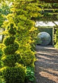 MITTON MANOR, STAFFORDSHIRE: PATH, GRAVEL, TOPIARY, AVENUE, FORMAL, COUNTRY, BOX, TOPIARY, HEDGES, HEDGING, EVERGREEN, SPRING, STEEL, ALLIUM, SPHERE, SCULPTURE BY RUTH MOILLIET