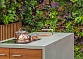 CHELSEA FLOWER SHOW 2018: URBAN FLOW GARDEN, DESIGNER TONY WOODS. PATIO, LIVING WALL, KITCHEN, DINING AREA, ENTERTAINING, COOKER, COOKING, ENTERTAINING