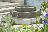 CHELSEA FLOWER SHOW 2018: THE LEMON TREE TRUST - DESIGNER TOM MASSEY: ISLAMIC INSPIRED WATER FEATURE, FOUNTAIN, CONCRETE, RECYCLED, RECYCLING, RE-CYCLED