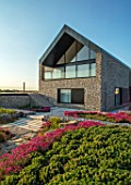 SEASIDE GARDEN DESIGNED BY ANTHONY PAUL: INFINITY SWIMMING POOL, OAK PATH, THRIFT, ARMERIA MARITIMA, PINK, FLOWERS, SPRING, COASTAL, GARDENS, ERIGERON SEABREEZE, MODERN, HOUSE