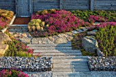 SEASIDE GARDEN DESIGNED BY ANTHONY PAUL: PATHS, OAK SLEEPERS, GABIONS, ROCKS, THRIFT, ARMERIA MARITIMA, PINK, FLOWERS, STIPA TENUISSIMA, OAK FENCES, FENCING, COASTAL