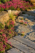 SEASIDE GARDEN DESIGNED BY ANTHONY PAUL: PATHS, OAK SLEEPERS, ROCKS, THRIFT, ARMERIA MARITIMA, PINK, FLOWERS, COASTAL GARDENS, WOODEN FENCING